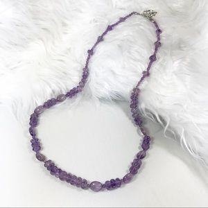 "Jewelry - NEW 22"" Amethyst Gemstone Crystal Beaded Necklace"